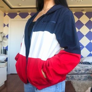 Brandy Melville Red Blue and White Krissy Jacket